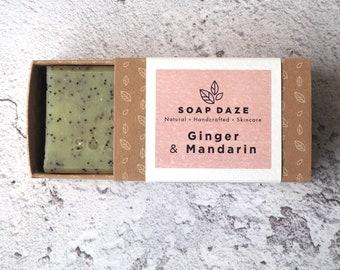 Ginger & Mandarin soap, vegan, handmade, natural, zero waste, bar soap. Boxed, gift for her, gift for him.