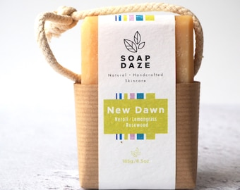 New Dawn Soap on a Rope, extra large, vegan soap