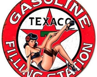 Texaco Pump Pin Up Girl Cut Out Metal Sign By Steve McDonald 16x29  RVG362S