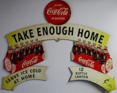 Original Double Sided Coca-Cola Cut-Out Cardboard Advertisement circa 1954