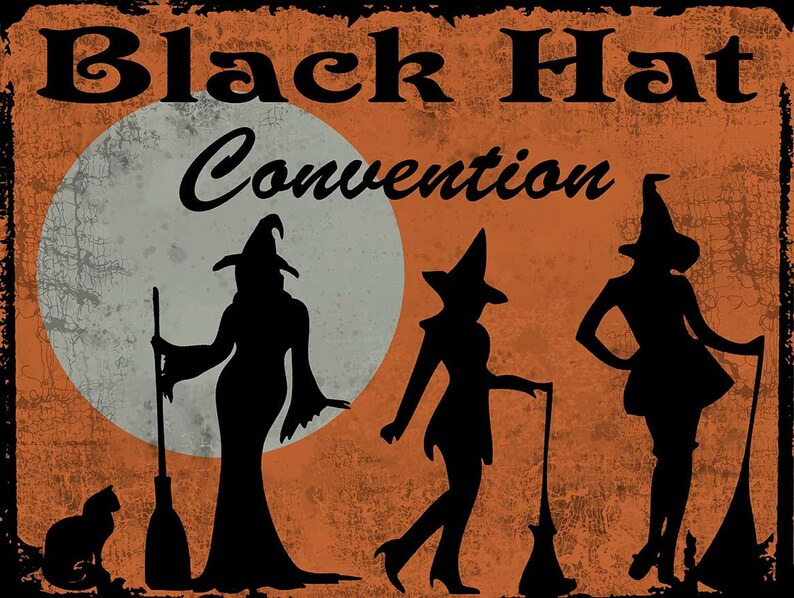 Black Hat Convention, Witches and Familiars, Broomsticks, Flying, Witchery,  Vintage Halloween Decor Inspired Metal Sign