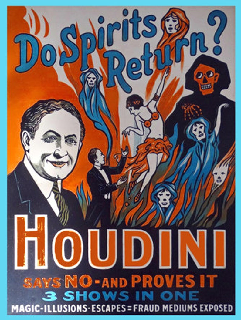 Vintage Harry Houdini Magician Empire Theatre Advertising Poster Art Print A4