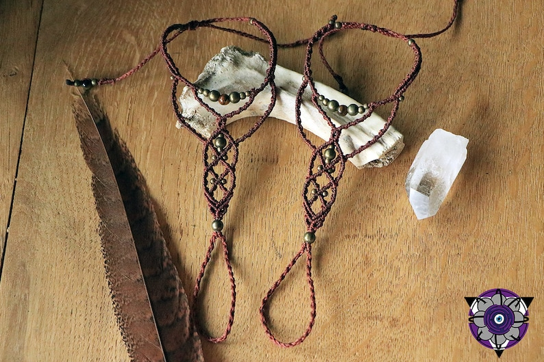 macrame tigerseye beads barefoot sandals with brass beads rusty red maroon