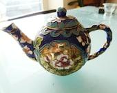 Miniature cloisonne teapot Collector. Chinese enamel and brass Souvenir. Vintage Oriental Home Decor.