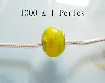 2 yellow lampwork European beads