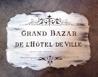 Plate old advertisement - retro shop sign - hand made GRAND Bazaar - PARIS-