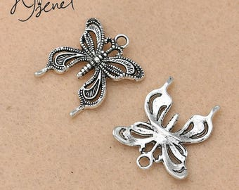 3 charms Butterfly silver 24x26mm
