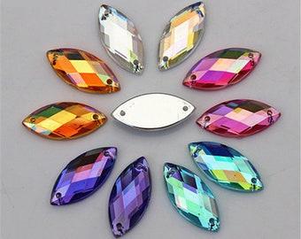 20 appliques rhinestone ovals 7x15mm customization color choice 2 holes
