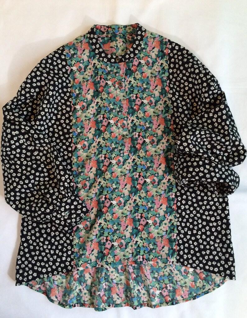 0700926fe6ad92 Mixed Floral print cotton Color block High-Low hem Drop