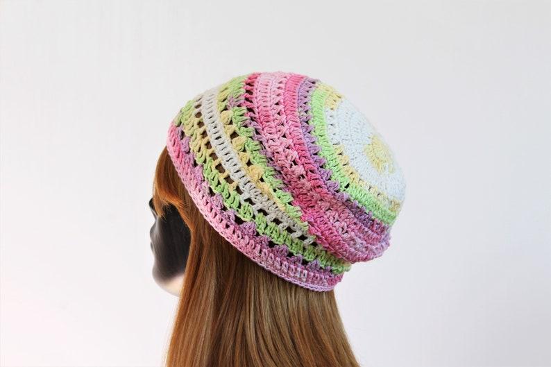 casual lace pattern festival rainbow travel crochet boho street hippie Women/'s slouchy summer beanie hat free style hat sun hat