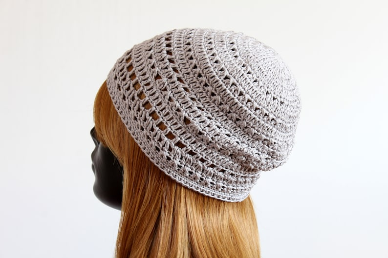 883db107d58 Women s cotton summer beanie hat crochet lace pattern