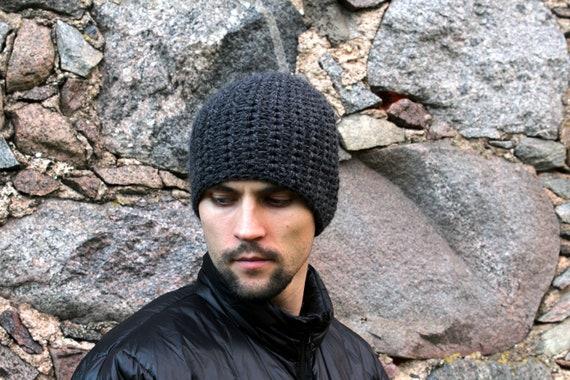 8693c60f5ed Wool beanie hat for men gray unisex crochet winter