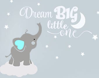 Dream Big Little One Elephant Decal Name Wall Decal Elephant Wall Decal  Elephants Baby Boy Room Decor Decals Nursery Boys Decals