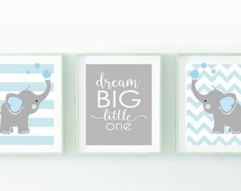 Nursery Art Elephant  Nursery Print Dream Big Quote Elephantr Nursery  Art Print Wall Art Decor Boys Room Decor set of 3 prints