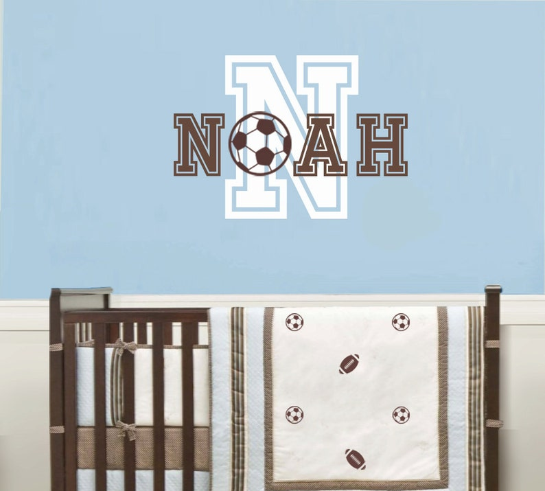 Soccer Ball Kids Room D\u00e9cor Personalized Decal Soccer Children Wall Decal Boys Room Sticker Boys Name Wall Decals Nursery
