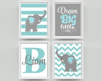 Nursery Art Elephant  Nursery Print Dream Big Quote Elephantr Nursery  Art Print Wall Art Decor Boys Room Decor set of 4 prints