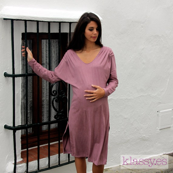 maternity winter dress , pink