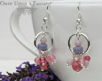 Dangle earrings pink and purple - Once Upon a Fantasy