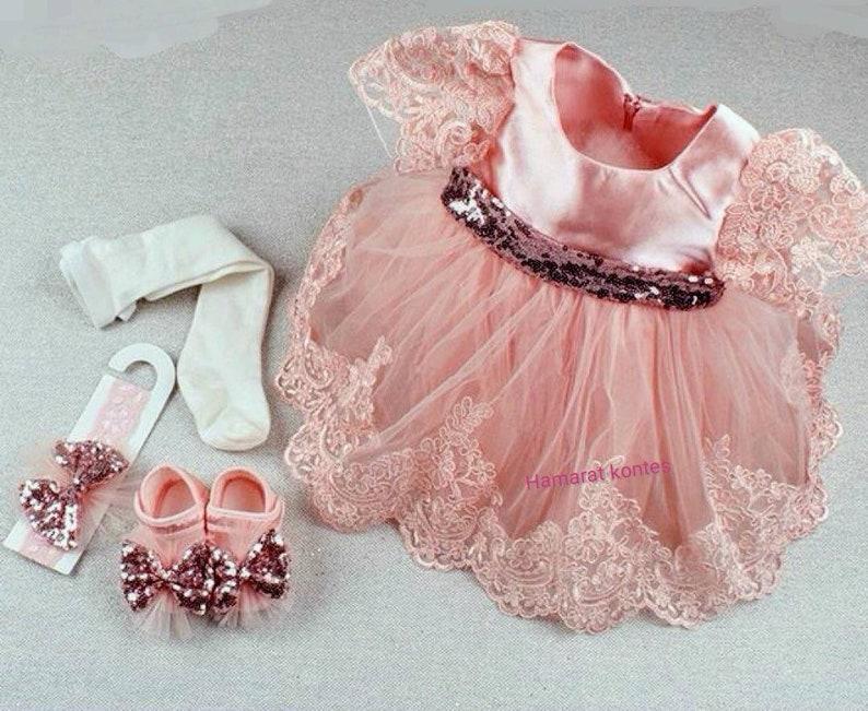 4585093d4ffd Baby Girl Rose Dress Set Newborn Baptism Gown Lace
