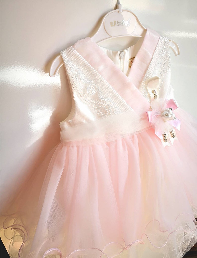 ef501a41cec4 Christening Toddler Gown Lace Baptism Dress Pink Tulle