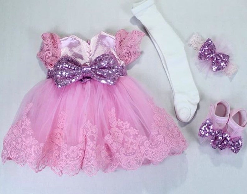 3221acc8152f Pink Lace Dedication Gown Baptism Dress For Baby Girl