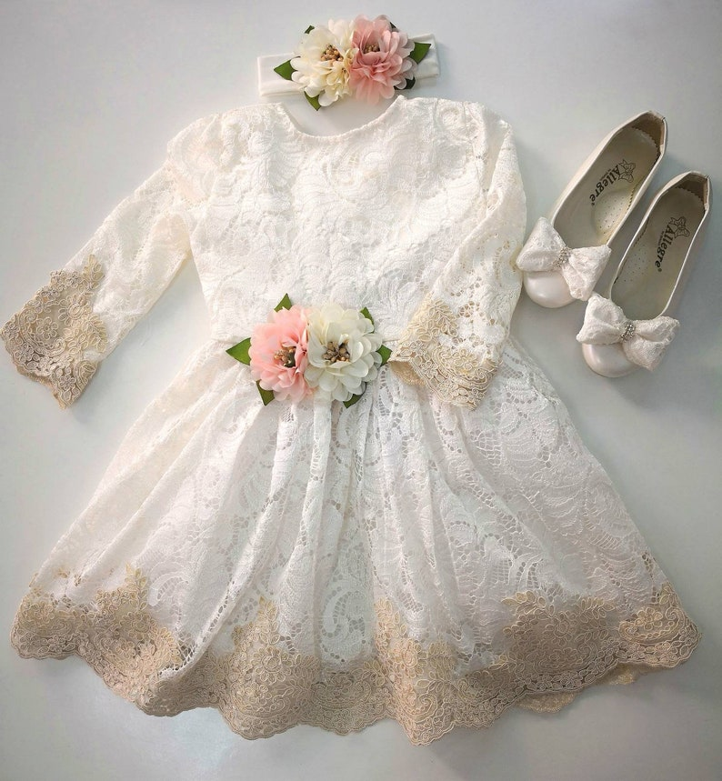 7a40de0ed274 Christening Gown Girl Toddler Girl Easter Clothes White Lace