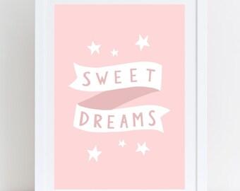 Sweet Dreams Print Girls Room Decor Girls Nursery Wall Art Nursery Print Girl Prints Nursery Wall Art Typographic Print Pink Girls Room
