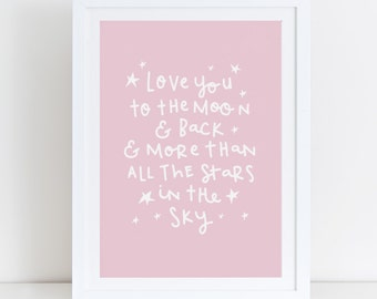Pink Nursery Wall Art Girls Nursery Decor Baby Girls Room Decor Love Print Moon And Back Quote Gift For Girl Stars Nursery Art