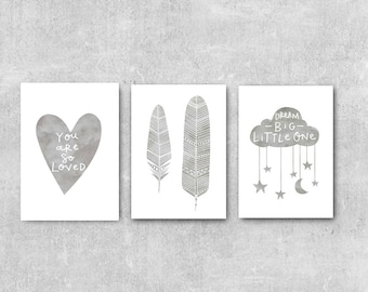 Nursery Prints Baby Nursery Art Grey Nursery Wall Art Set Nursery Prints  Set Of 3 Prints Grey Nursery Decor Baby Wall Art Baby Gift