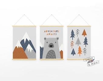 Adventure Awaits Typographic Print Set   Unframed   Set Of 3    Scandi Nursery Decor   Kids Mountains Wall Art   Bear Illustration