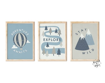 Adventure Typographic Print Set   Unframed   Set Of 3    Scandi Nursery Decor   Hot Air Balloon   Trees   Mountains   Blue and Stone