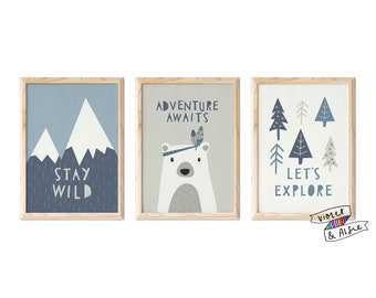 Adventure Awaits Typographic Print Set   Unframed   Set Of 3    Scandi Nursery Decor   Kids Mountains Wall Art   Stay Wild   Lets Explore