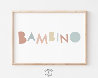 Bambino Print   Unframed   Colourful Playroom Wall Art   Playful Nursery Decor   Typographic Prints For Children