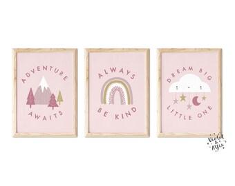Pink Nursery Print Set   Unframed   Be Kind   Adventure Awaits   Dream Big   Set Of 3   Cloud Rainbow Illustration   New Baby Gift