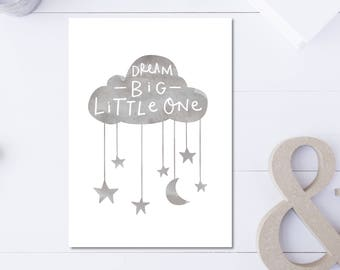 Cloud Print Gray Nursery Wall Art Dream Big Poster Watercolor Nursery Print Dream Cloud Art Gray Kids Room Print Cloud Mobile Print Art