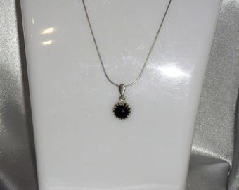 Stone black spinel necklace fine gemstone and Sterling Silver 925