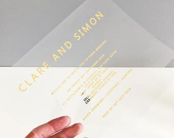 Acetate Wedding invitation, gold wedding Invitation, unique wedding Invitation, Clear wedding Invitation, Modern wedding Invitation,