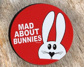 Mad about bunnies coaster - rabbit coaster - bunny print - hardboard ceramic coaster - scratch resistance - glossy finish - round coaster