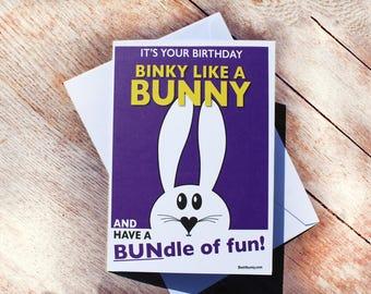 Binky like a Bunny Birthday Card. Best4bunny