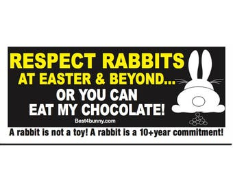 Easter Bunny rabbit window, car sticker.  Campaign, welfare sticker. Rabbits are not Easter toys