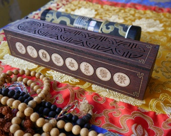 Incense burner box, Fire Safe, Eight Auspicious Signs, natural wood, tibetan style. Vajra on side. Hand painted.
