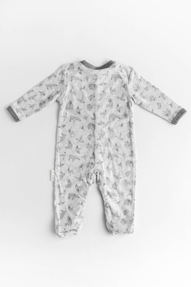 100/% Cotton Knit Baby Grey Animal Origami Print Baby Long Sleeve Jumper Onesie Romper