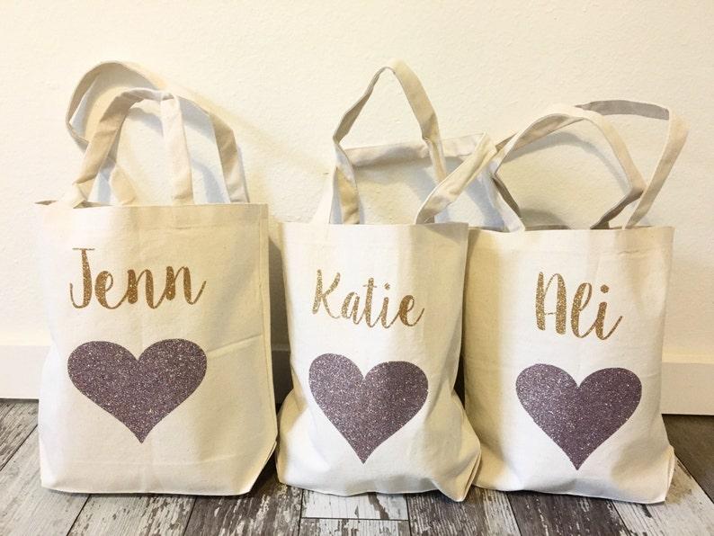 Wedding Tote Bag Bridesmaids Gift Glitter Party Tote Glitter Heart Bag Bridal Tote Bridesmaid Glitter Heart Tote Shopping Tote