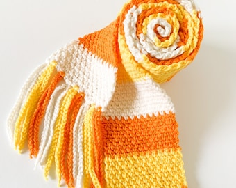 Fall Scarf with Fringe - Candy Corn Colored - Yellow, Orange and Off White