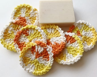 Round Facial Scrubbies - Orange, Yellow, White - 100% Cotton - Reusable Set of 7 - Candy Corn - Special Fall Design - Limited Edition