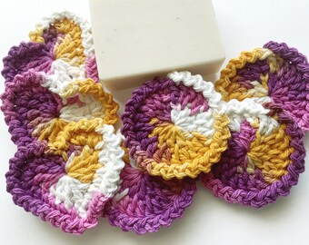Facial Scrubbies - Round and Heart Shaped - Purple, Yellow, White - 100% Cotton - Reusable Set of 7 - Special Fall Design - Limited Edition