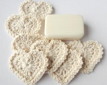 Heart Shaped Facial Scrubbies - 100% Cotton - Reusable