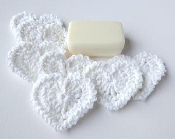 Heart Shaped Facial Scrubbies - 100% Cotton - Reusable - White