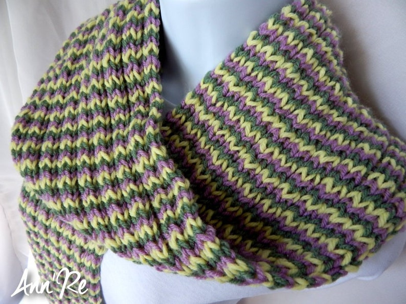 Hand Knit Striped Scarf  Green Purple Yellow image 1