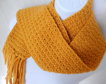 Pumpkin Orange Winter Scarf with Fringe - Warm and Trendy